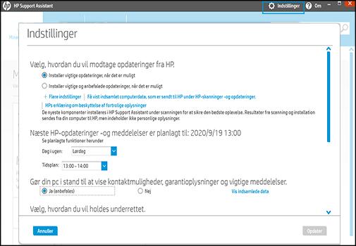 Skærmbilledet indstillinger for HP Support Assistant