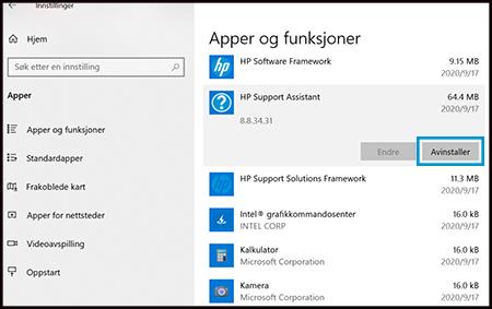 Klikk på Avinstaller i apper & funksjoner
