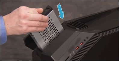 Inserting top hard drive into the top enclosure