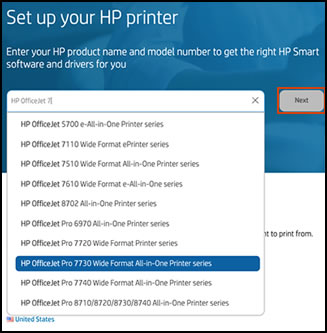 Selecting a printer model in the drop-down list and clicking Next