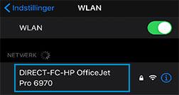 Valg af Wi-Fi Direct-printernavn på listen