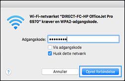 Valg af dit Wi-Fi Direct-printernavn på listen