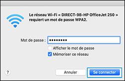 Sélection du nom de votre imprimante Wi-Fi Direct dans la liste