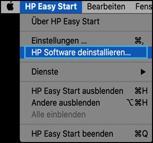 Klicken auf HP-Software deinstallieren in HP Easy Start