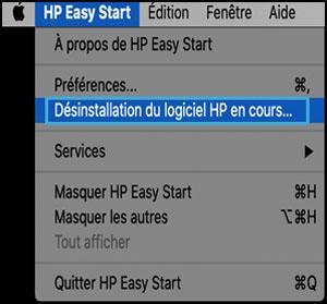 Cliquer sur Désinstaller des logiciels HP sous HP Easy Start