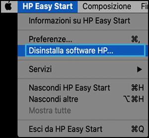 Clic su Disinstalla software HP in HP Easy Start