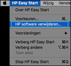 Op HP software verwijderen klikken in HP Easy Start