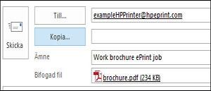 Exempel på ePrint e-postjobb