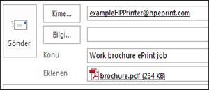ePrint iş e-postasını gösteren örnek