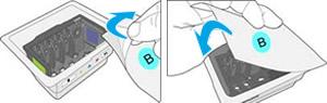 Décollage de l'autocollant du couvercle de l'emballage et scellage de l'emballage