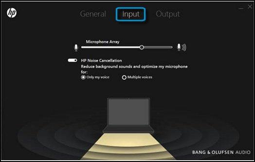 Application Bang&Olufsen indiquant les paramètres d'entrée