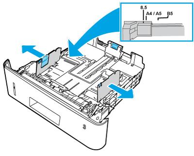 Anpassen der Papierführungen für Breite