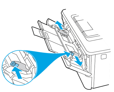 Presione hacia abajo la pestaña de la guía del papel derecha y extienda las guías del papel