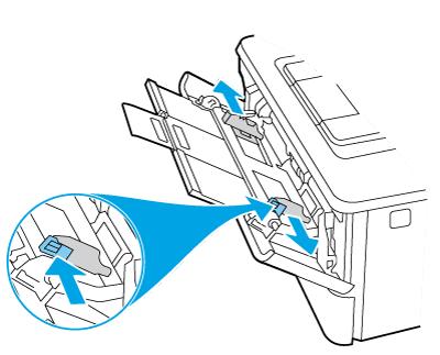 Pressione para baixo na guia de papel direita e abra as guias de papel