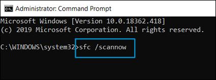 Exécution de la vérification du fichier système dans la fenêtre d'invite de commande