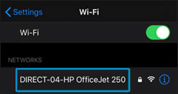 Selecting your Wi-Fi Direct printer name from the list