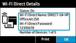 Viewing the Wi-Fi Direct details menu