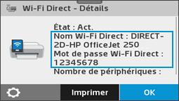 Affichage du menu des informations Wi-Fi Direct