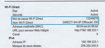 Emplacement de la section Wi-Fi Direct sur un rapport de configuration réseau