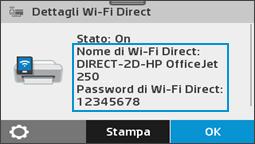 Visualizzazione del menu relativo ai dettagli su Wi-Fi Direct