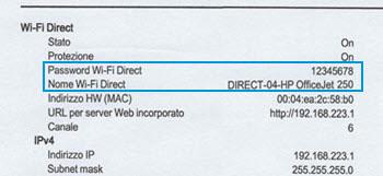 Posizione della sezione Wi-Fi Direct su un rapporto di configurazione di rete