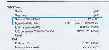 Localização da seção Wi-Fi Direct em um relatório de configuração da rede