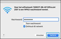 De naam van uw Wi-Fi Direct-printer selecteren in de lijst
