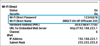 Ubicación de la sección Wi-Fi Direct en un informe de configuración de red