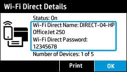 Visualización del menú de detalles de Wi-Fi Direct