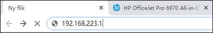 Skriv in IP-adressen i webbläsarens adressfält