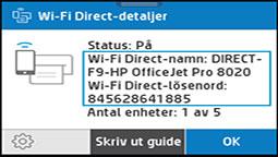 Visa menyn med information om Wi-Fi Direct
