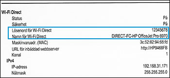 Placering av Wi-Fi Direct-avsnittet i en nätverkskonfigurationsrapport
