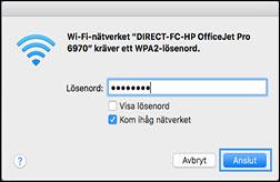 Välj Wi-Fi Direct-skrivarens namn från listan