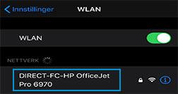 Velge Wi-Fi Direct-skrivernavn fra listen