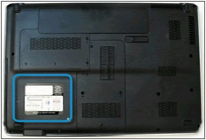 Notebooktypenschild links unten