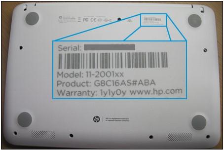 Etiqueta de identificación de la notebook en la parte superior derecha