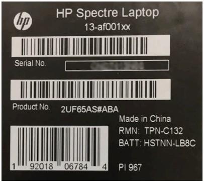 Etichetta di identificazione sulla confezione del computer