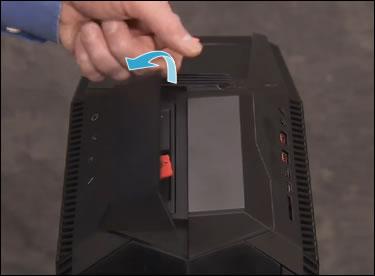 Opening the hard drive access door