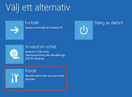 Välja Felsök i Windows Återställningsmiljö