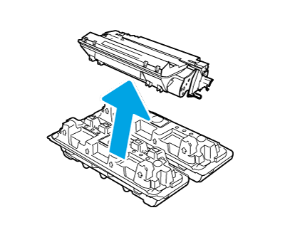 열린 포장재에서 카트리지를 분리합니다.