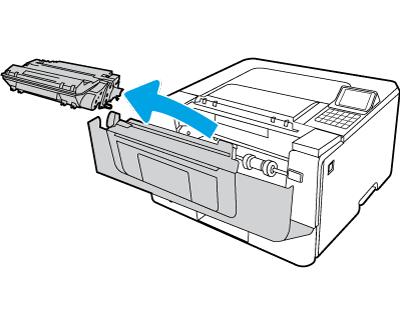Извлеките картридж с тонером из принтера