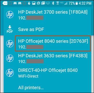 Valg af printeren på listen over tilgængelige printere