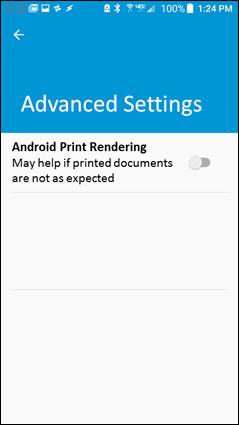 Activation du rendu d'impression Android