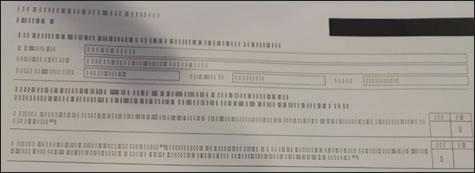 דוגמה של תדפיס עם טקסט בלתי קריא