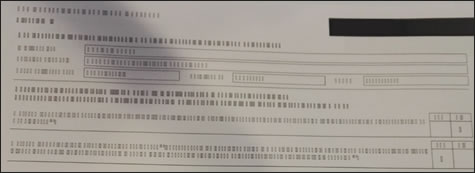 Пример отпечатка с нечитаемым текстом