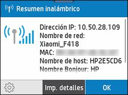 Ejemplo de la pantalla de Resumen de conexión inalámbrica