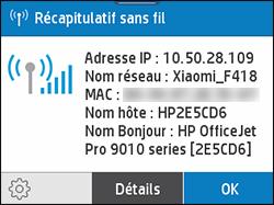 Exemple d'écran Résumé du réseau sans fil