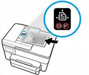 Wkładanie dokumentu do podajnika ADF zgodnie zprowadnicą drukarki