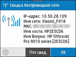 Пример экрана со сводной информацией о беспроводном подключении
