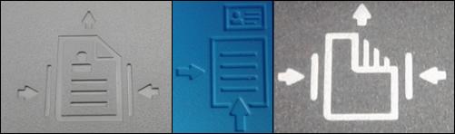 ตัวอย่างแนวการใส่กระดาษสำหรับตัวป้อนเอกสารอัตโนมัติ